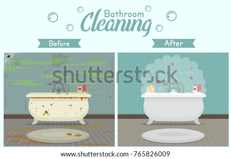 Clean Dirty Bathroom Modern Style Cleaning Stock Vector - Bathroom cleaning companies