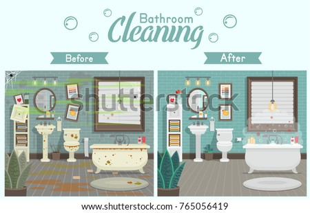 Clean dirty bathroom toilet sink bath stock vector for Modern cleaning concept