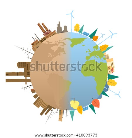 Clean And Dirty Polluted Earth Planet Globe Concept Flat Vector Illustration