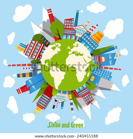 Clean and green energy concept with industrial buildings around the globe vector illustration - stock vector