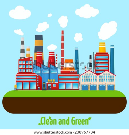 Clean and green manufacturing modern industry factory buildings poster vector illustration - stock vector