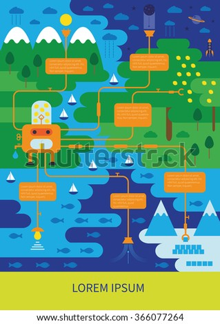 Clean and green world - abstract ecological infographic - stock vector