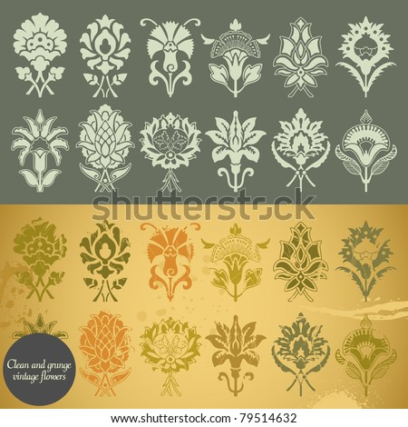 Clean and grunge vintage flowers. Vector illustration. - stock vector