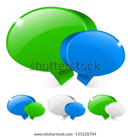 Clean and shiny chat icons with several versions - stock vector