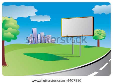 Clean billboard for filling informations or advertising standing for filling by the country road. - stock vector