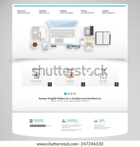 Clean Business Professional Website Template, Eps 10, Vector illustration. with flat concept. - stock vector