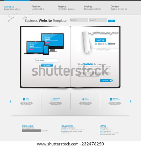 Clean Business Professional Website Template with Open book  Eps 10, Vector illustration.  - stock vector