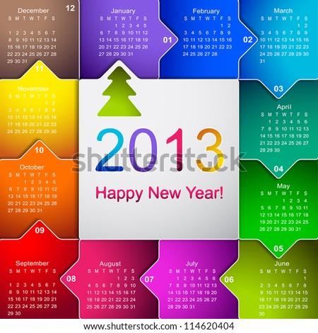 Clean 2013 business wall calendar - stock vector