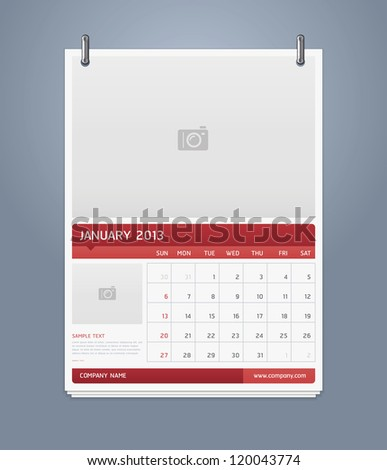 Clean calendar 2013 template design. Vector illustration. - stock vector