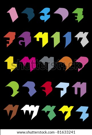 Clean chunky 3D alphabet brightly coloured on black - stock vector