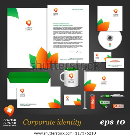 Clean corporate identity template with leaf elements. Vector company style for brandbook and guideline. EPS 10 - stock vector