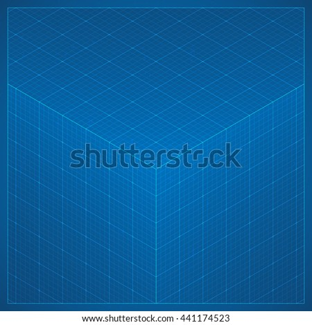 Clean 3 d blueprint page background perspective stock vector 2018 clean 3d blueprint page background perspective isometric grid texture background in dark blue colors malvernweather Image collections