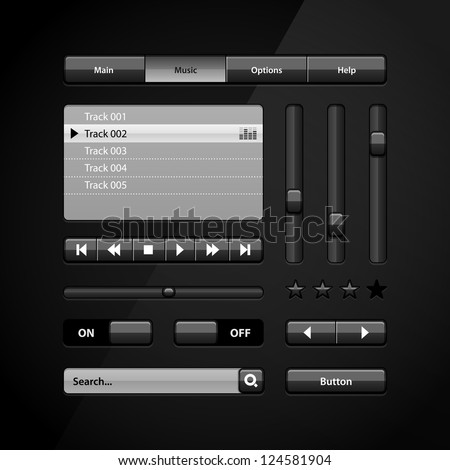 Clean Dark User Interface Controls 6. Web Elements. Website, Software UI: Buttons, Switchers, Arrows, Drop-down, Navigation Bar, Menu, Search, Equalizer, Mixer, Levels, Play List, Player, Progress - stock vector