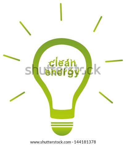Clean Energy Light Bulb Concept - stock vector