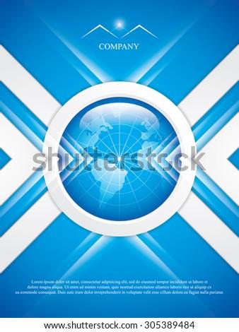 Clean futuristic vector design template with earth globe.Brochure - stock vector