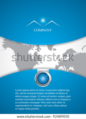 Clean futuristic vector design template with earth globe.Brochure - stock vector