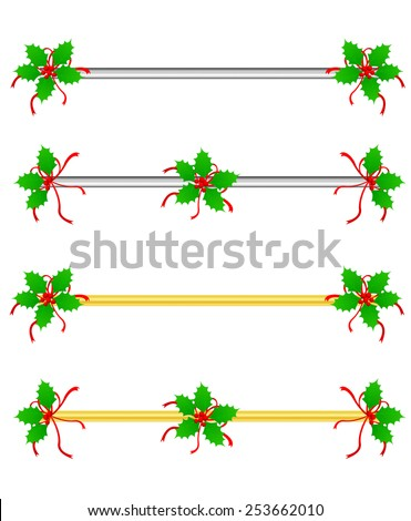 Clean Holly leaves and berries Christmas/holiday border /divider with silver and gold bars - stock vector