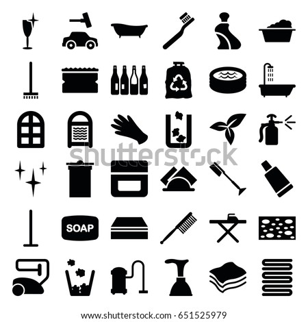 clean icons set set 36 clean stock vector royalty free 651525979