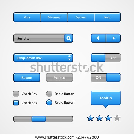 Clean Light Blue User Interface Controls. Web Elements. Website, Software UI: Buttons, Switchers, Slider, Arrows, Drop-down, Navigation Bar, Menu, Tooltip, Check Box, Radio, Scroller, Input Search  - stock vector