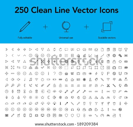 Clean Line Vector Icons - stock vector