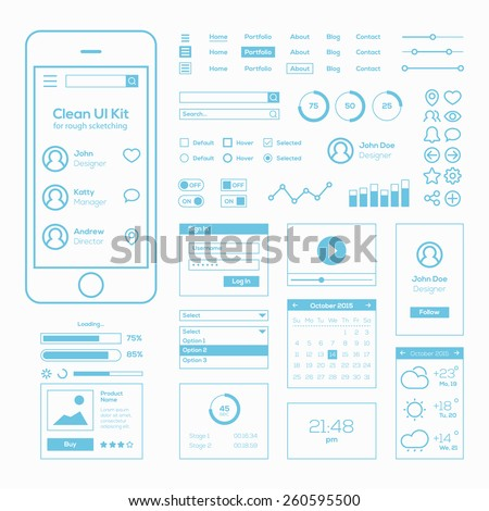 Clean Mobile Web UI Kit - stock vector