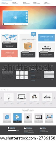 Clean Modern Corporate Website Template Design Vector Eps 10 Illustration - stock vector