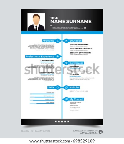 clean modern design template of resume cv template vector graphic layout black and - Cv Design Templates Vector