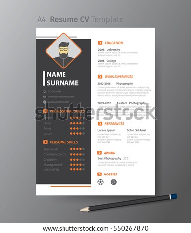 Cv template stock images royalty free images vectors shutterstock clean modern design template of resume or cvvector illustration yelopaper Image collections
