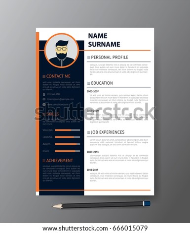 Clean Modern Design Template Resume C Vvector Stock Vector (2018 ...