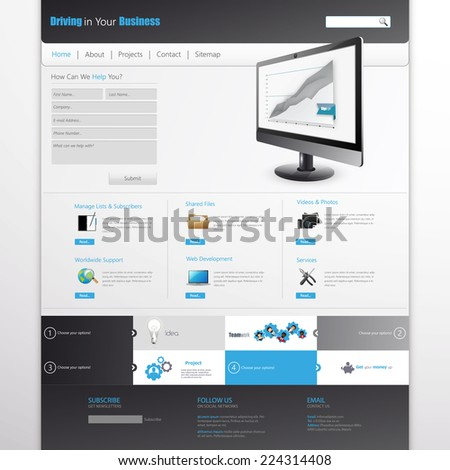 Clean Modern Website Template - stock vector