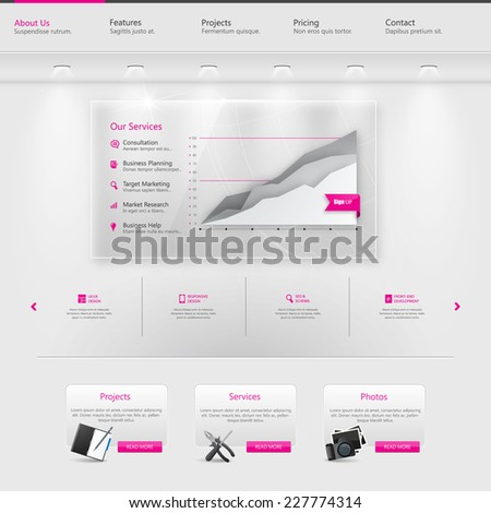 Clean modern Website Template. Professional Website Mockup Design, with Gallery Wall elements. - stock vector