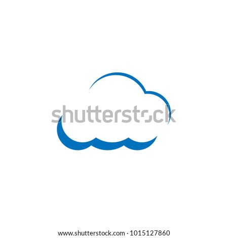 Clean Outline Blue Cloud Template Vector