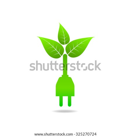 Clean Power and Green Energy logo design for Ecology concept, vector illustration - stock vector