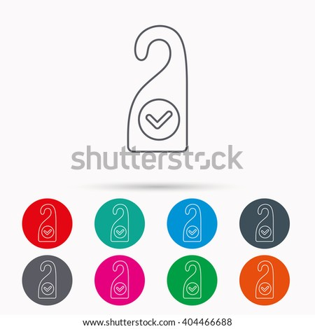 Clean room icon. Hotel door hanger sign. Maid service symbol. Linear icons in circles on white background. - stock vector