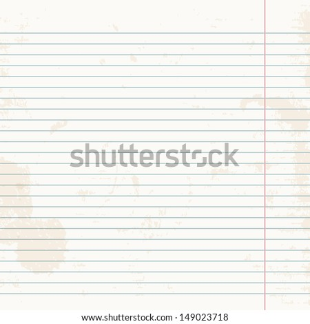 Clean sheet of exercise book striped. Vector illustration.