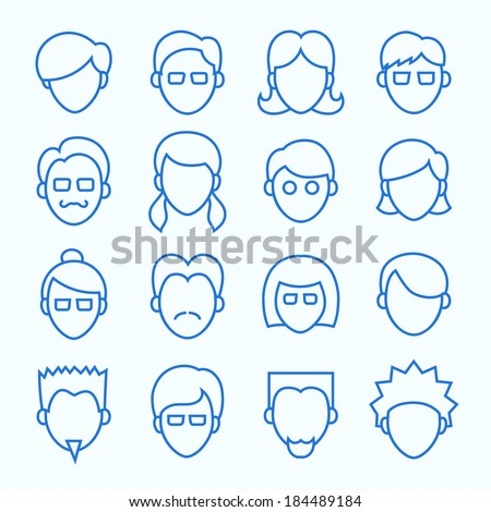 Clean Simple Line Faces. Thin Icons Set included 16 items. - stock vector