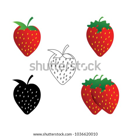 Clean Strawberry Logo Design Template Stock Vector 1036620010 ...