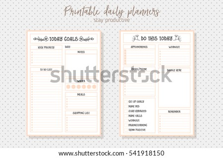 Clean Style Daily Planner Vector Template. Stationery Design. Cute And  Simple Printable To Do  Daily To Do Template