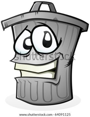 Clean Trash Can Cartoon Character - stock vector