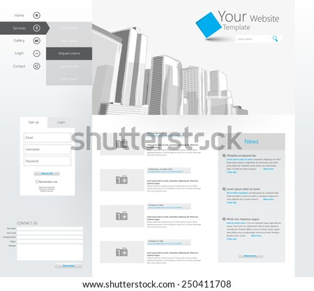 Clean Vector Business Website Template, with corporate buildings illustration. Eps 10 - stock vector