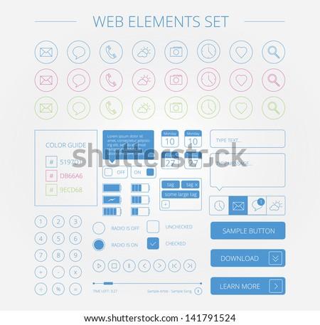 clean web elements set - stock vector