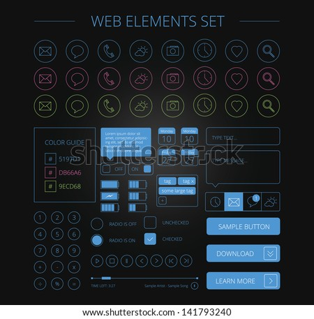 clean web elements set black - stock vector