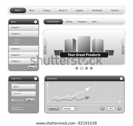 Clean Website Design Elements Gray - stock vector