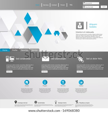 Clean Website Template  - stock vector