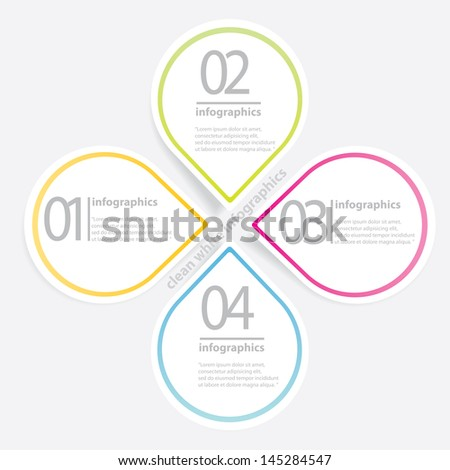 Clean White paper Modern Design template / can be used for infographics / numbered banners / horizontal cutout lines / graphic or website layout vector