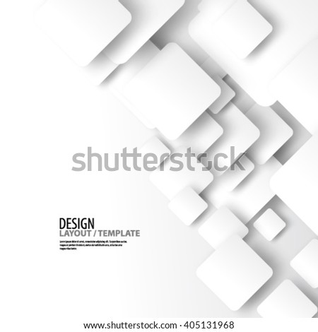 Clean White Rounded Squares Design/Layout Background - stock vector
