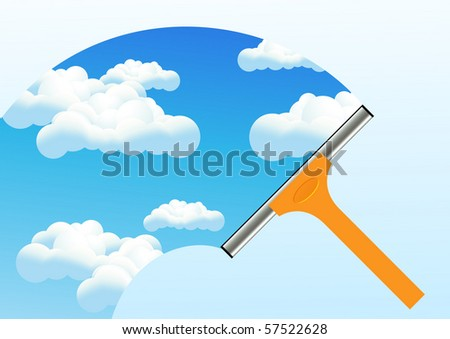 Clean window, vector illustration - stock vector