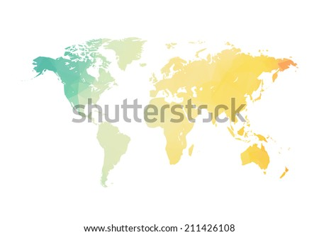Clean world map illustration - stock vector