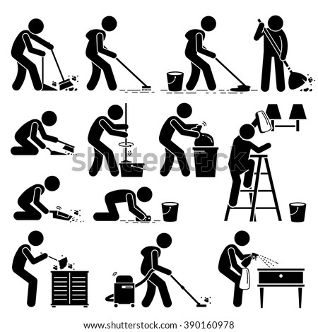 Cleaner Cleaning and Washing House Pictogram - stock vector