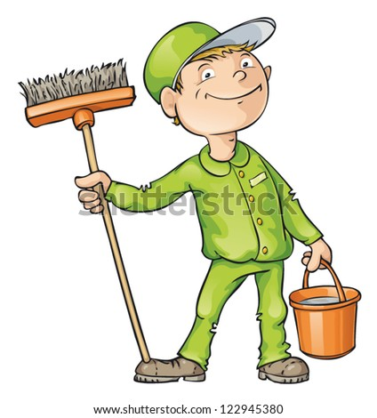 Cleaner holding a brush and a bucket. Vector cartoon - stock vector
